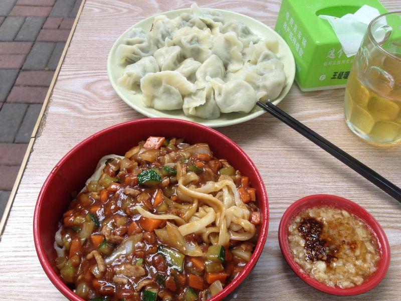 炸醤麺と水餃子