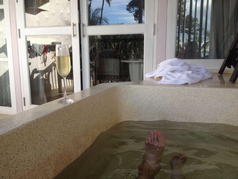 贅沢な朝風呂